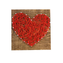Wine & Design in a Box | String Art Heart | Red